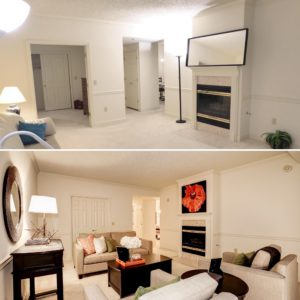 before and after staged condo at the Williamsburg Arlingtion listed by the best Arlington realtor Renata Briggman