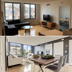 before and after staged Arlington condo in Station Square listed by Renata Briggman best arlington realtor