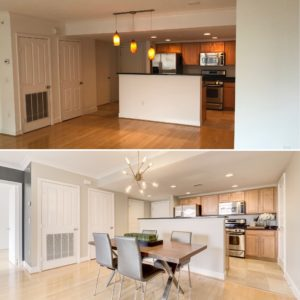 before and after staged clarendon condo listed by best arlington realtor renata briggman