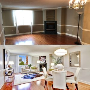 before and after condo in the Williamsburg Arlington listed by best arlington realtor renata briggman